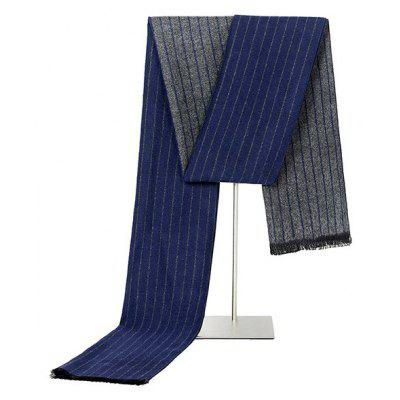 Male Classic Simple Stripes Warm Fringed Scarf
