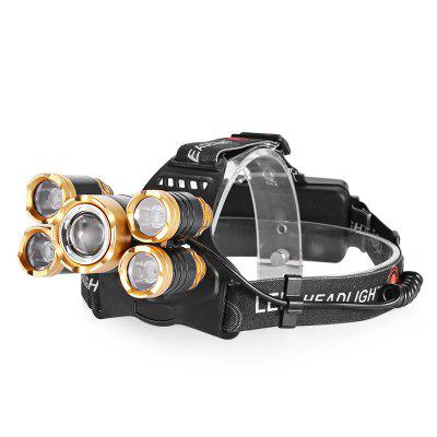 USB LED Headlamps 5 LEDs Adjustable Focus for Night Activities