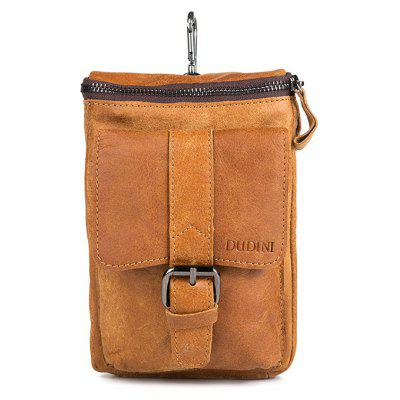 DUDINI Men Multifunctional Genuine Leather Waist Bag