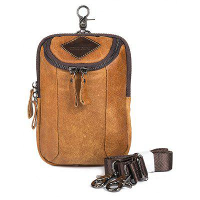 DUDINI Retro Multifunctional Genuine Leather Waist Bag