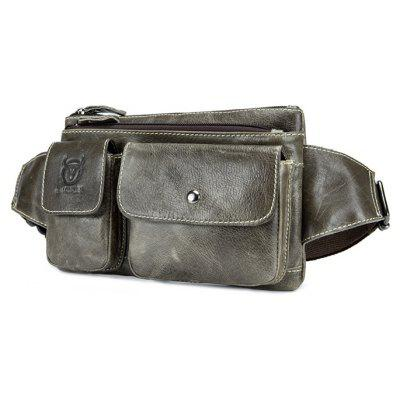 BULLCAPTAIN Retro Multifunctional Genuine Leather Waist Bag
