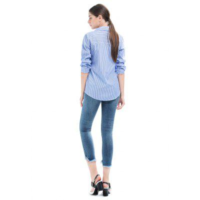 Turn-down Collar Striped Embroidery BlouseBlouses<br>Turn-down Collar Striped Embroidery Blouse<br><br>Collar: Turn-down Collar<br>Embellishment: Embroidery<br>Material: Cotton, Polyester<br>Package Content: 1 x Blouse<br>Package size (L x W x H): 35.00 x 28.00 x 3.00 cm / 13.78 x 11.02 x 1.18 inches<br>Package weight: 0.1900 kg<br>Pattern Type: Floral, Stripe<br>Product weight: 0.1600 kg<br>Season: Spring, Fall<br>Shirt Length: Regular<br>Sleeve Length: Long Sleeves<br>Style: Fashion, Active