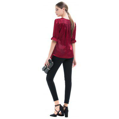 Plus Size Half Sleeves Drawstring BlouseBlouses<br>Plus Size Half Sleeves Drawstring Blouse<br><br>Collar: V-Neck<br>Material: Cotton, Polyester<br>Package Content: 1 x Blouse<br>Package size (L x W x H): 35.00 x 28.00 x 3.00 cm / 13.78 x 11.02 x 1.18 inches<br>Package weight: 0.2100 kg<br>Pattern Type: Solid<br>Product weight: 0.1800 kg<br>Season: Spring, Fall<br>Shirt Length: Regular<br>Sleeve Length: Half Sleeves<br>Sleeve Type: Flare Sleeve<br>Style: Fashion