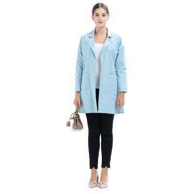 Turn-down Collar Solid Color Straight Trench