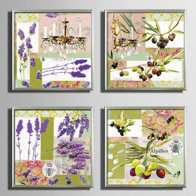 E - HOME Modern Canvas Prints Flower Hanging Art 4PCS