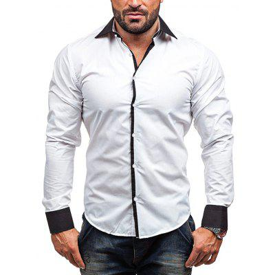 Men Casual Slim Hit Color Long-sleeved Shirt