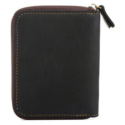 Фото #1: DUDINI Men Retro Genuine Leather Zipper Around Wallet