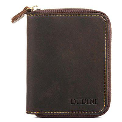 DUDINI Men Retro Genuine Leather Zipper Around Wallet