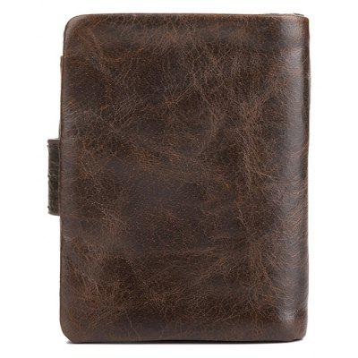 Купить со скидкой DUDINI Men Retro Genuine Leather Bifold Wallet with Buckle