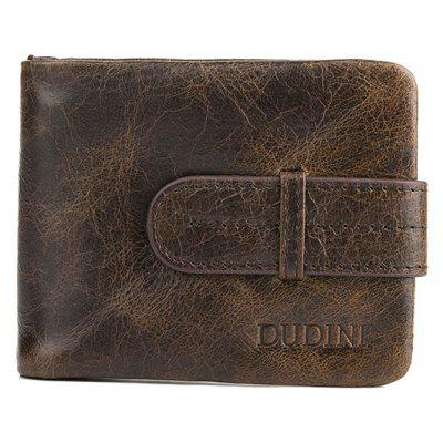 DUDINI Men Retro Genuine Leather Bifold Wallet with Buckle