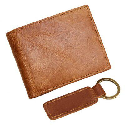 DUDINI RFID Blocking Leather Bifold Wallet with Key Buckle