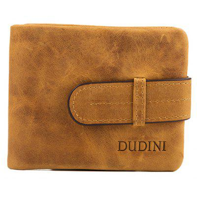 DUDINI Men Trendy Genuine Leather Bifold Wallet with Buckle
