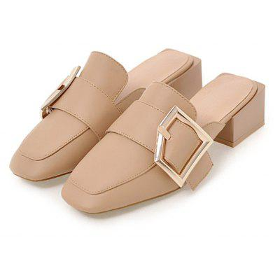 Women Charm Cool Square Toe Chunky Heel Sandals Slippers