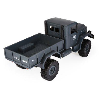 WPL B - 1 1:16 Mini Off-road RC Military Truck - RTRRC Cars<br>WPL B - 1 1:16 Mini Off-road RC Military Truck - RTR<br><br>Battery Information: 6V 700mAh NiCd<br>Car Power: Built-in rechargeable battery<br>Channel: 2-Channels<br>Charging Time: 120 Minutes<br>Control Distance: 30-80m<br>Detailed Control Distance: About 50m<br>Drive Type: 4 WD<br>Features: Radio Control<br>Material: ABS, Metal, Electronic Components<br>Motor Type: Brushed Motor<br>Package Contents: 1 x Truck ( Battery Included ), 1 x Transmitter, 1 x C Shape Suspension Beam, 1 x Charging Cable<br>Package size (L x W x H): 46.00 x 20.00 x 16.00 cm / 18.11 x 7.87 x 6.3 inches<br>Package weight: 1.2750 kg<br>Product size (L x W x H): 35.00 x 14.00 x 15.00 cm / 13.78 x 5.51 x 5.91 inches<br>Product weight: 0.6100 kg<br>Proportion: 1:16<br>Racing Time: 20mins<br>Remote Control: 2.4GHz Wireless Remote Control<br>Speed: 10km/h<br>Transmitter Power: 2 x 1.5V AA battery (not included)<br>Type: Off-Road Car