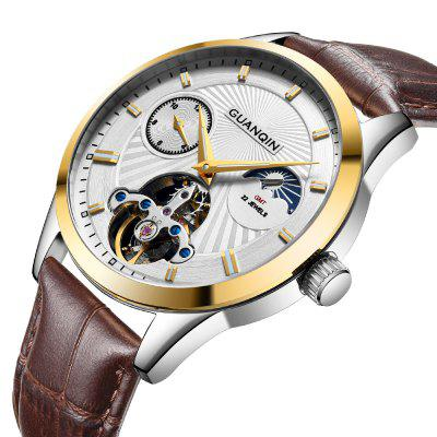 GUANQIN GJ16105 - 1A Auto Mechanical Men WatchMens Watches<br>GUANQIN GJ16105 - 1A Auto Mechanical Men Watch<br><br>Band material: Leather<br>Band size: 22.00 x 2.20cm<br>Brand: GUANQIN<br>Case material: Steel<br>Clasp type: Pin buckle<br>Dial size: 4.10 x 4.10 x 1.15cm<br>Display type: Analog<br>Movement type: Automatic mechanical watch<br>Package Contents: 1 x Watch, 1 x Box<br>Package size (L x W x H): 14.90 x 9.40 x 2.80 cm / 5.87 x 3.7 x 1.1 inches<br>Package weight: 0.1358 kg<br>Product size (L x W x H): 22.00 x 4.10 x 1.15 cm / 8.66 x 1.61 x 0.45 inches<br>Product weight: 0.0686 kg<br>Shape of the dial: Round<br>Watch style: Casual, Outdoor Sports, Fashion<br>Watches categories: Men<br>Water resistance: Life water resistant