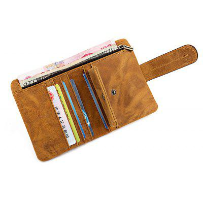 DUDINI Leisure Genuine Leather Bifold Wallet with Buckle