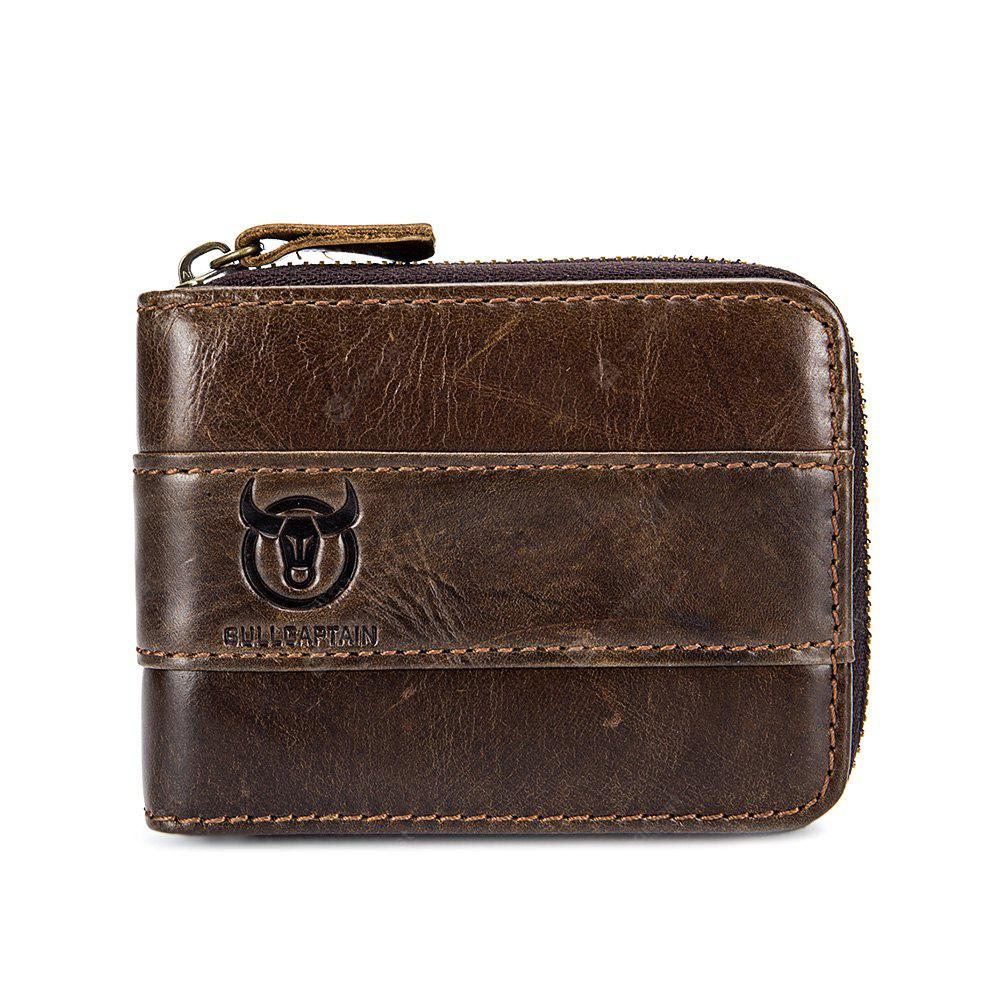 BULLCAPTAIN Stylish Zipper Around Genuine Leather Wallet