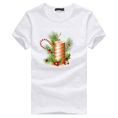 Short Sleeves Christmas T-shirt with Candle Motif