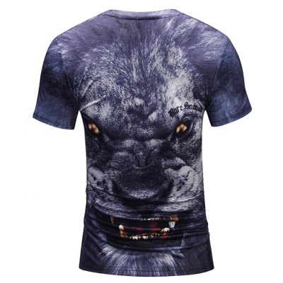 Men 3D Scary Lion Print Round Neck Short Sleeve T-shirtMens Short Sleeve Tees<br>Men 3D Scary Lion Print Round Neck Short Sleeve T-shirt<br><br>Neckline: Round Neck<br>Package Content: 1 x T-shirt<br>Package size: 38.00 x 30.00 x 1.00 cm / 14.96 x 11.81 x 0.39 inches<br>Package weight: 0.2200 kg<br>Product weight: 0.2000 kg<br>Season: Summer<br>Sleeve Length: Short Sleeves<br>Style: Casual