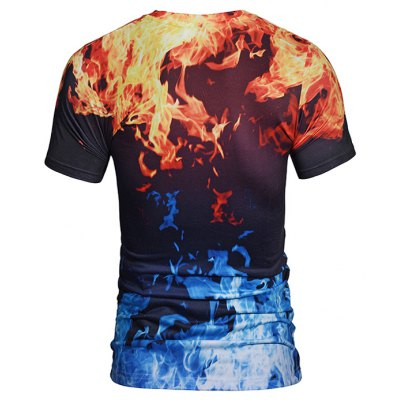 Men 3D Flame Print Round Neck Short Sleeve T-shirtMens Short Sleeve Tees<br>Men 3D Flame Print Round Neck Short Sleeve T-shirt<br><br>Neckline: Round Neck<br>Package Content: 1 x T-shirt<br>Package size: 38.00 x 30.00 x 1.00 cm / 14.96 x 11.81 x 0.39 inches<br>Package weight: 0.2200 kg<br>Product weight: 0.2000 kg<br>Season: Summer<br>Sleeve Length: Short Sleeves<br>Style: Casual