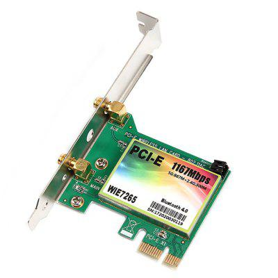 Dual-band 2.4G / 5G 1167Mbps Wireless PCI-E Network CardNetwork Cards<br>Dual-band 2.4G / 5G 1167Mbps Wireless PCI-E Network Card<br><br>Interface: PCI-E<br>Package size: 15.00 x 10.00 x 3.00 cm / 5.91 x 3.94 x 1.18 inches<br>Package weight: 0.1090 kg<br>Packing List: 1 x Wireless Network Card, 1 x 2U Bezel, 2 x Antenna, 1 x Bluetooth Cable, 1 x Drive CD, 1 x Screw<br>Product size: 12.00 x 5.40 x 1.85 cm / 4.72 x 2.13 x 0.73 inches<br>Product weight: 0.0920 kg<br>Transmission Rate: 1167Mbps