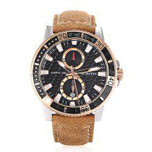 OCHSTIN GQ045 Men Stylish Leather Band Quartz Watch