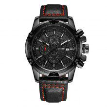 OCHSTIN GQ075B Men Luminous Leather Strap Quartz Watch