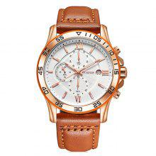 OCHSTIN 6068G Men Classic Leather Band Quartz Watch