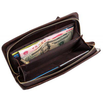 DUDINI Business Genuine Leather Zipper Around Long Wallet