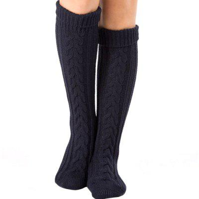 Simple Flanging Hemp Flowers Knitted Stockings For Women