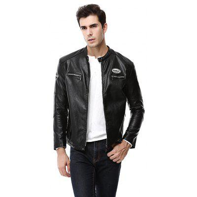 Cool Stand Collar Leather Jacket