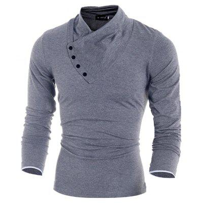 Solid Color Asymmetric Long Sleeve T-shirt