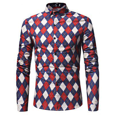 Stylish Diamond Lattice Motifs Long Sleeves Shirt