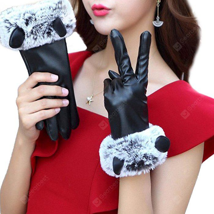 Women PU Leather Lovely Gloves for Winter Driving