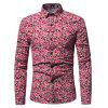 Stylish Floral Long Sleeves Shirt - RED