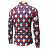 Stylish Diamond Lattice Motifs Long Sleeves Shirt - RED