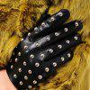 Women PU Leather Rivet Glove Winter Warm Mittens - BLACK