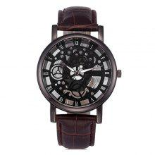 Men Hollow PU Strap Mechanical Artificial Quartz Watch
