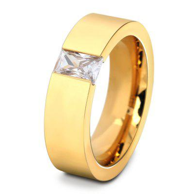 Stainless Steel Men Ring with Artificial Zircon