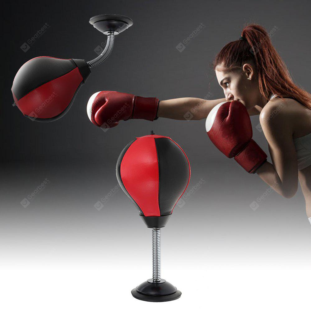 Desktop Punching Bag Adult Stress Relief Boxing Ball - BLACK AND RED