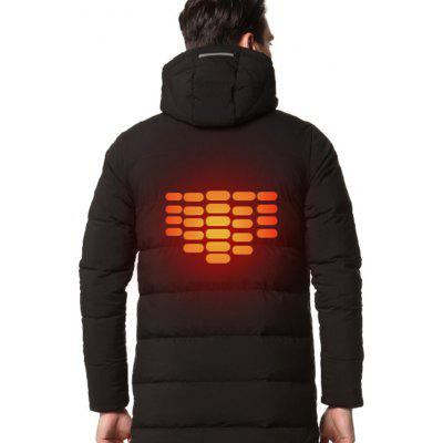 Warm Solid Color Electric Heated Long Padded CoatMens Jackets &amp; Coats<br>Warm Solid Color Electric Heated Long Padded Coat<br><br>Closure Type: Zipper<br>Clothes Type: Padded<br>Collar: Hooded<br>Embellishment: Others<br>Materials: Polyester<br>Occasion: Going Out<br>Package Content: 1 x Electric Heated Padded Coat<br>Package Dimension: 40.00 x 30.00 x 2.00 cm / 15.75 x 11.81 x 0.79 inches<br>Package weight: 2.0000 kg<br>Pattern Type: Solid<br>Product weight: 1.8000 kg<br>Seasons: Winter<br>Shirt Length: Long<br>Sleeve Length: Long Sleeves<br>Style: Fashion<br>Thickness: Thickening