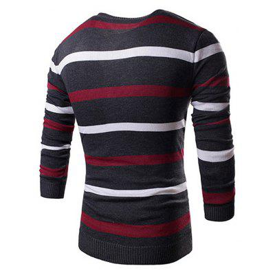 Men Stylish Stripe Knitting SweaterMens Sweaters &amp; Cardigans<br>Men Stylish Stripe Knitting Sweater<br><br>Material: Cotton, Polyester<br>Occasion: Daily Use<br>Package Contents: 1 x Knitting Sweater<br>Package size: 35.00 x 25.00 x 2.00 cm / 13.78 x 9.84 x 0.79 inches<br>Package weight: 0.3700 kg<br>Pattern: Stripe<br>Product weight: 0.3500 kg<br>Style: Brief<br>Thickness: Regular