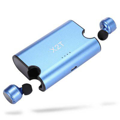 Gearbest Mini X2T Wireless Double Bluetooth Headset - BLUE Hands-free Call / Multi-point Connection / CVC6.0 Noise Cancellation