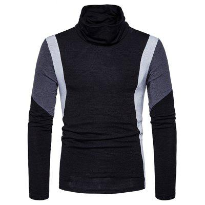 Male Fashion Spliced Color Turtleneck Slim Sweater