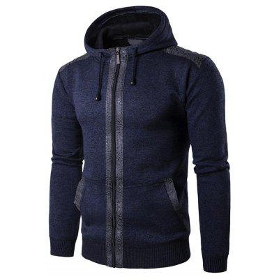 Male Casual Hooded PU Spliced Zip Up Sweater