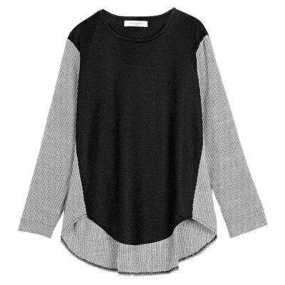 Plus Size Striped Irregular jointed Splice T-Shirt