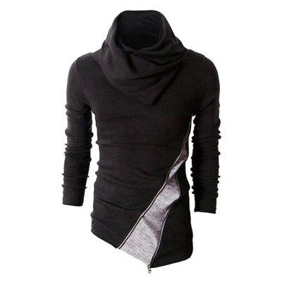 Male Trendy Turtleneck Spliced Sweater with Irregular Hem