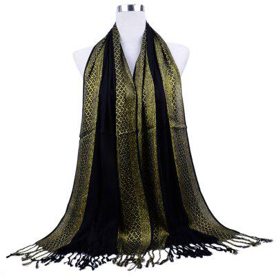 Luxury Fringed Gold Thread Cotton Scarf