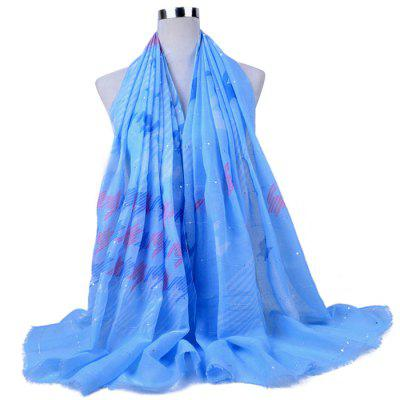 Lightweight Striped Sequins Tassels Cotton Scarf