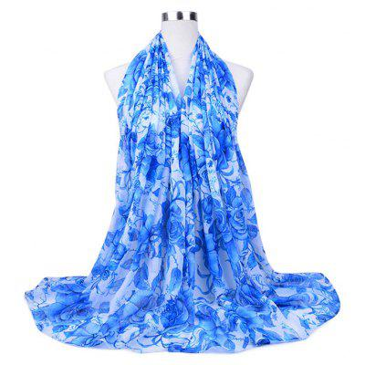 Lightweight Flowers Printed Voile Scarf
